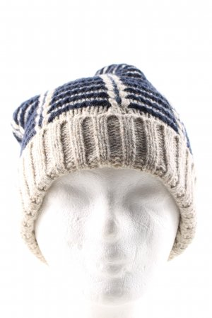 Lands' End Knitted Hat blue-cream striped pattern casual look