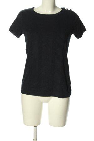 Lands' End T-Shirt schwarz Zopfmuster Casual-Look