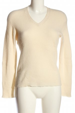 Lands' End V-Ausschnitt-Pullover creme Zopfmuster Casual-Look