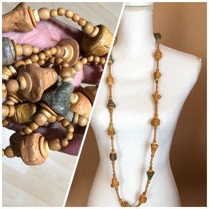 Lang Halskette Steinkette Holzkette Halsschmuck Beige