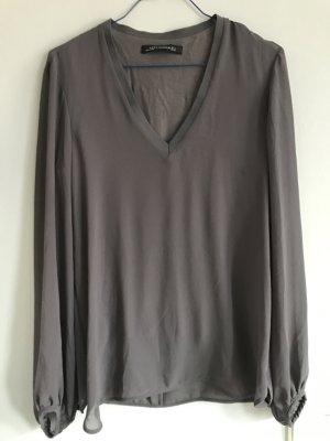 Langärmelige anthrazitfarbene Bluse von ZARA Woman