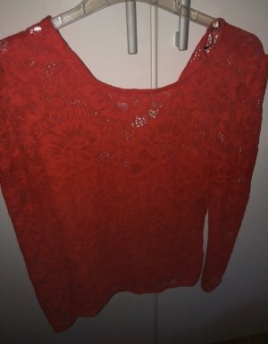 Gina Tricot Lace Top red