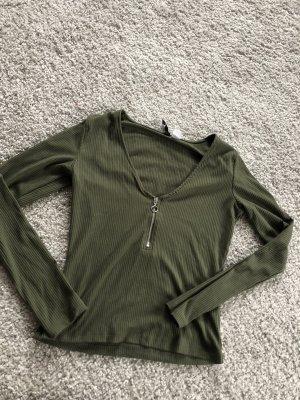 H&M Geribd shirt olijfgroen