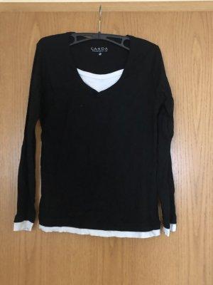 Langärmeliges Schwarz / weißes T-shirt