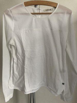 Langärmeliges Shirt mit transparentem Einsatz in wollweiss von rich & royal