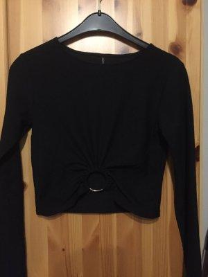 Stradivarius Cropped shirt zwart-lichtgrijs