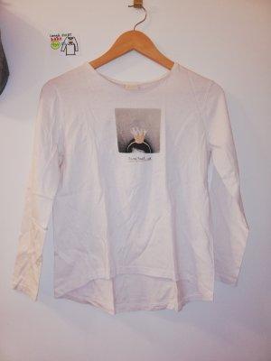 langärmeliges Shirt Zara weiß rosa mit bild krone