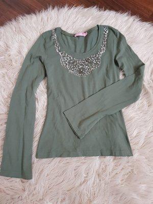 langärmlig Shirt in grün mit Pailletten von rosa gr. S