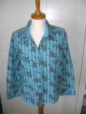 langärmlige Bluse, Langarmbluse, gestreift, Muster, blau, türkis, Cecil, Gr. L