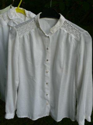 Perry Landhaus Blusa de cuello alto blanco Algodón