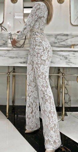 Trouser Suit white-cream mixture fibre