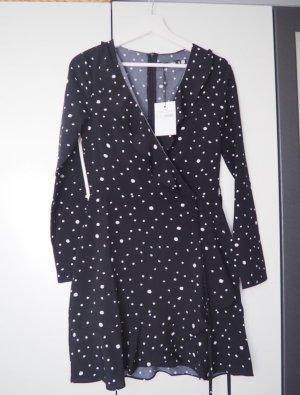 Missguided Vestido cruzado negro-blanco