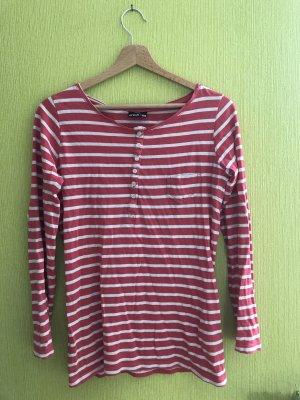 Langärmliges gestreiftes T-Shirt in rosa/weiß
