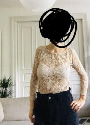 Langärmliges Shirt Bluse in Spitzenoptik boho Zara M