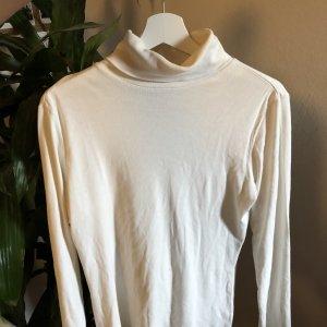 langärmliges Shirt in weiß mit Rollkragen