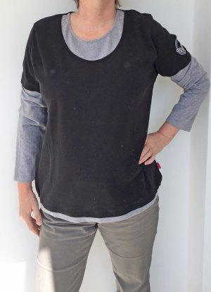 langärmliges T-Shirt in zwei Lagen Optik - schwarz-grau, Größe 46
