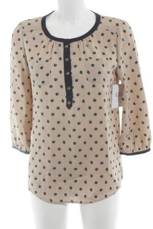Langarm-Bluse beige-dunkelblau abstraktes Muster Casual-Look