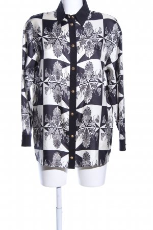 Fausto Puglisi Langarm-Bluse blau-weiß grafisches Muster Casual-Look