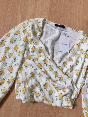 Langarm Bluse in wickeloptik mit blumenmuster Bauchfrei