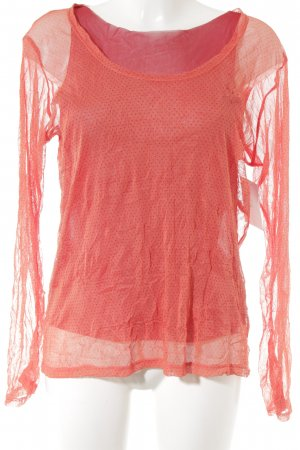 Langarm-Bluse lachs-dunkelrot Punktemuster Casual-Look