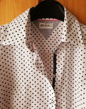 Langarm-Bluse mit blauen Polka-Dots aus Baumwolle