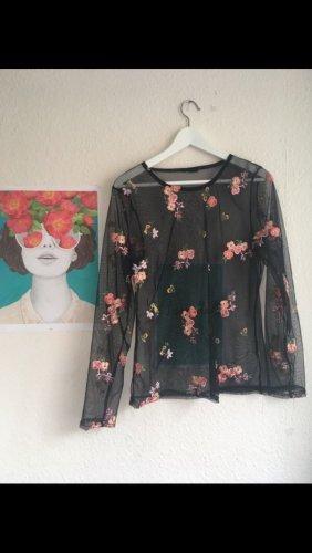 Camisa de malla negro-rosa