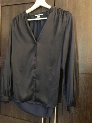 H&M Blouse met opstaande kraag donkerblauw Polyester