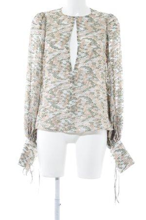 Langarm-Bluse roségoldfarben-waldgrün Transparenz-Optik