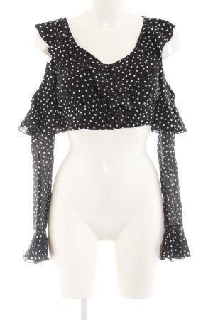 Langarm-Bluse schwarz-weiß Punktemuster Elegant