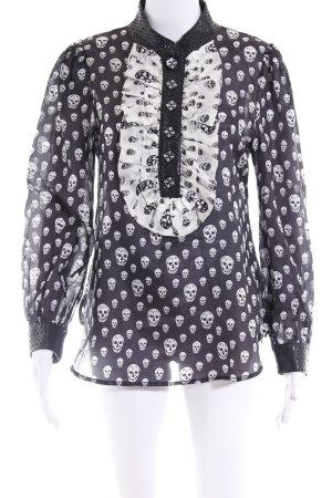 Langarm-Bluse schwarz-wollweiß Allover-Druck Lederelemente