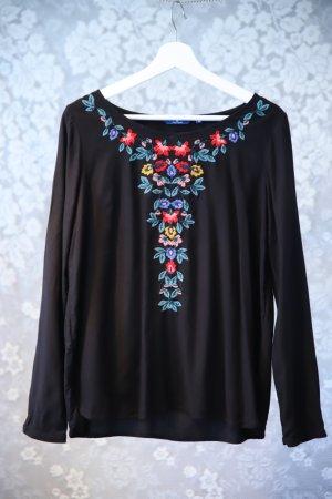 Langarm-Bluse Tom Tailor, schwarz mit Stickerei