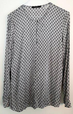 Langarm-Bluse von Esprit, cremeweiß/schwarz gemustert, Größe 34