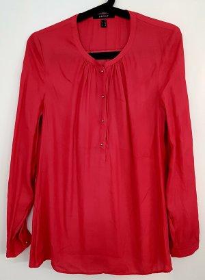 Langarm-Bluse von Esprit, magenta/himbeerrot, Größe 36, mit silbernen runden Knöpfen
