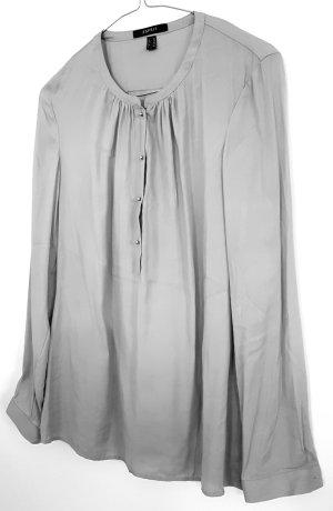 Langarm-Bluse von Esprit, silbergrau, Größe 36, mit silbernen runden Knöpfen