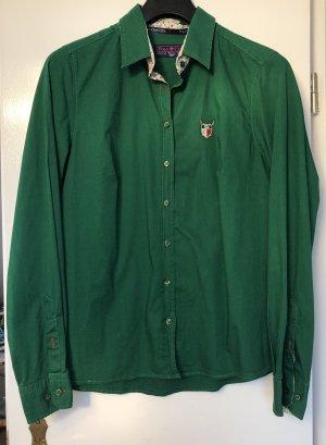 Langarm Bluse von Polo Club C.H.A Logo Dunkelgrün