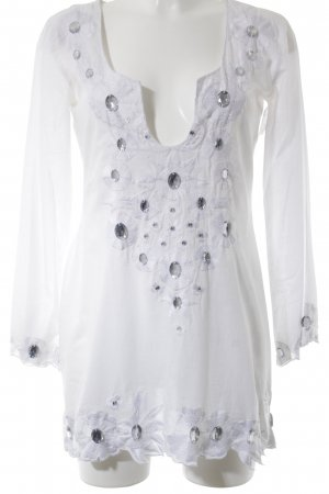 Langarm-Bluse weiß Elegant