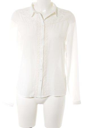 Langarm-Bluse weiß florales Muster Elegant
