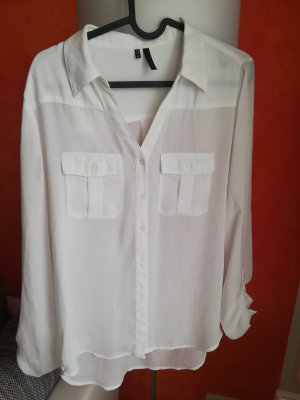langarm Bluse - weiß - M
