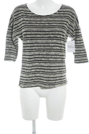 Langarm-Bluse weiß-schwarz Casual-Look