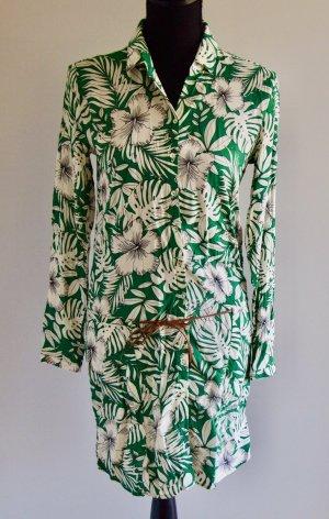 Langarm Blusenkleid mit floralem Muster und Gürtel