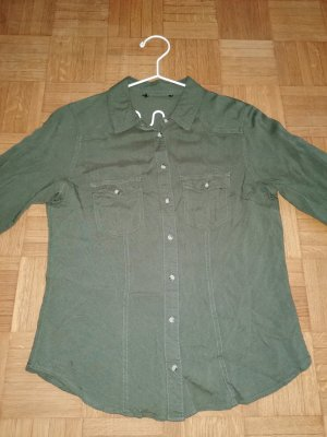 H&M Divided Kołnierzyk koszulowy ciemnozielony Bawełna