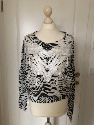 Langarm Cropped Bluse schwarz/weiß