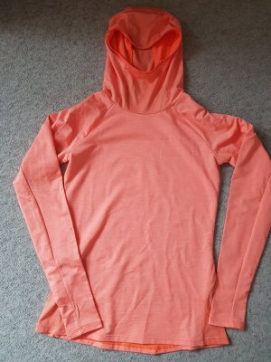 Langarm-Funktionsshirt (running-shirt) mit Kapuze in knalligem orange Gr. 36