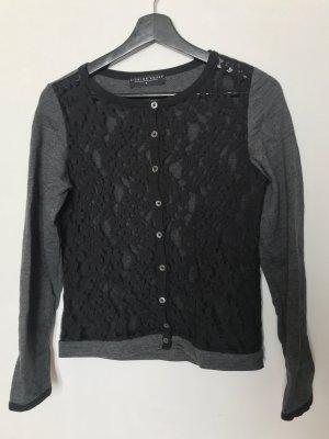 Fashion House Top di merletto antracite-nero