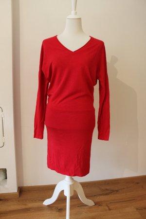 Comma Robe en laine rouge coton