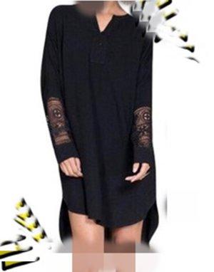 Langarm Kleid Longbluse schwarz Spitzenärmel Gr L