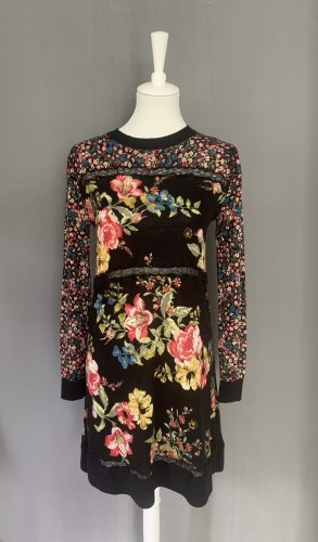 Langarm-Kleid mit Spitzeneinsatz und Blumenmuster