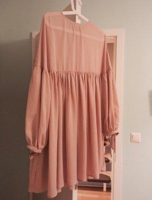 Langarm Kleid zarte Lachs Rosa Farbe Ballonärmel Puffärmel