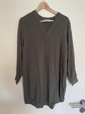 Langarm Minikleid Tunika Bluse Khaki 36