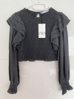 Zara T-shirt court gris foncé